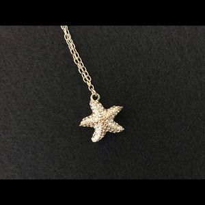 J Crew Starfish necklace rhinestone embellishments